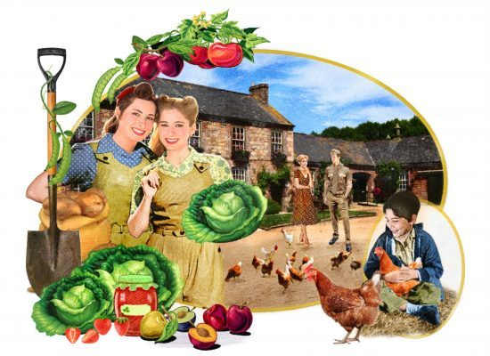 Serial illustration shows land girls Phylly and Gracie.