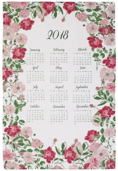 RHS Traditional Rose Calendar Tea Towel