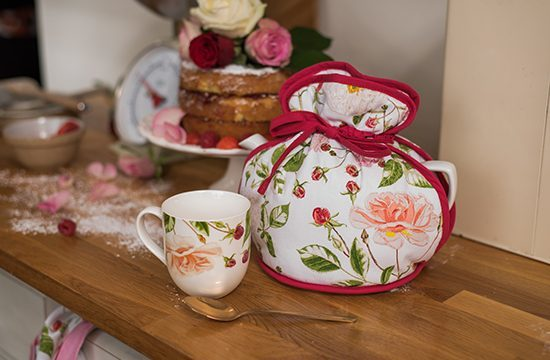 RHS Traditional Rose Muff Tea Cosy Lifestyle