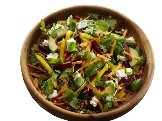 JPEG The Ultimate Salad Watercress Rainbow Salad with Feta, Beetroot, Carrots, Lentils, Pomegranate and Avocado