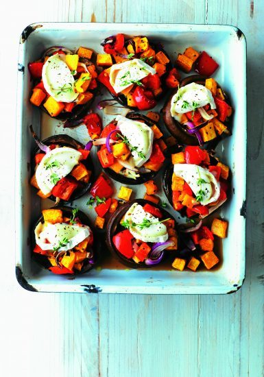 MegaMushrooms cheesey mushrooms. Goats' Cheese and Roasted Veg