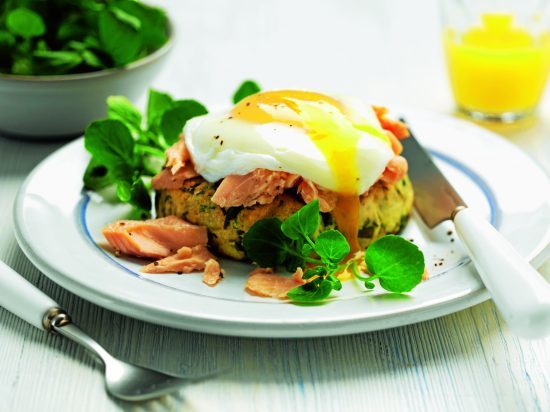 Warm watercress potato cake with poached egg and trout