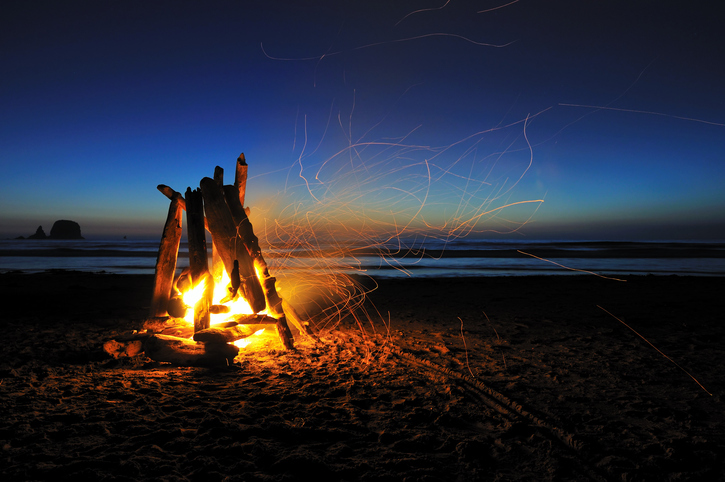 campfire on shi shi beach, olympic national park. fire day