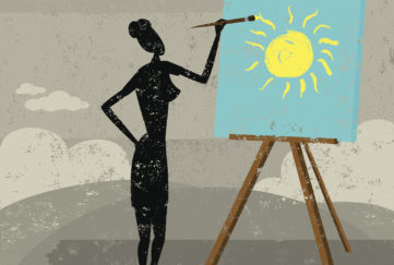 Changing attitude. A woman creating a bright, sunny day on a cloudy one. The woman & easel and the background are on separate labeled layers.
