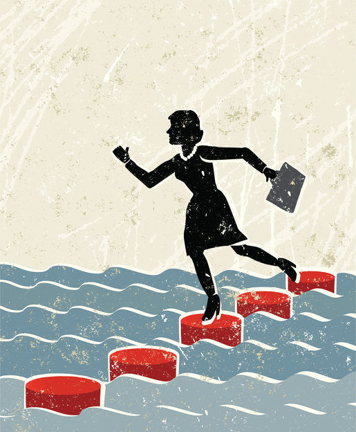 One step at a time! no fear of failure. A stylized vector cartoon of a Woman crossing water on stepping stones, the style is reminiscent of an old screen print poster. Suggesting balance, security, solutions, overcoming obstacles,financial instability,danger, or skill. Woman, stones,water, paper texture and background are on different layers for easy editing. Please note: clipping paths have been used, an eps version is included without the path.
