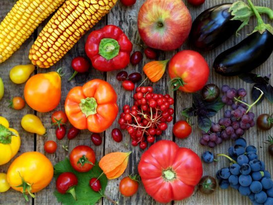 Fruit and veg orange, red, purple fruits and vegetables