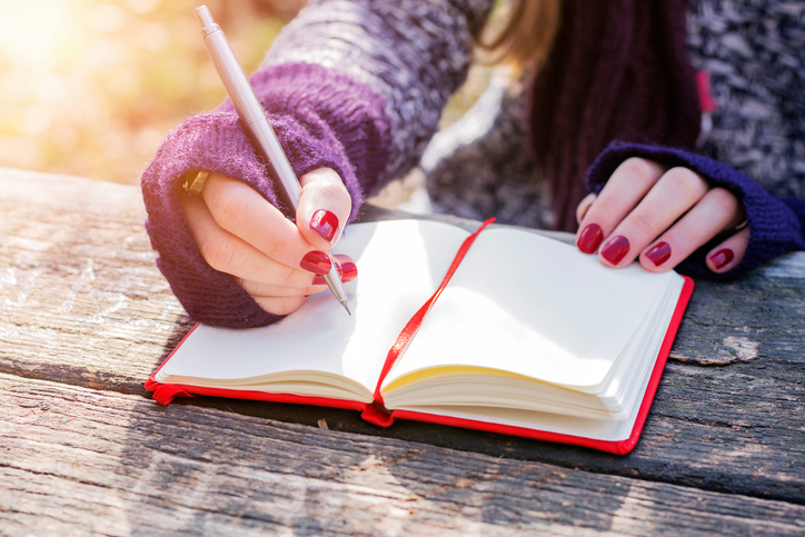 Diary, Writing, Women, One Woman Only, Young Women. writing bug
