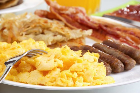 Stock image of hearty breakfast, focus on foreground. food for thought