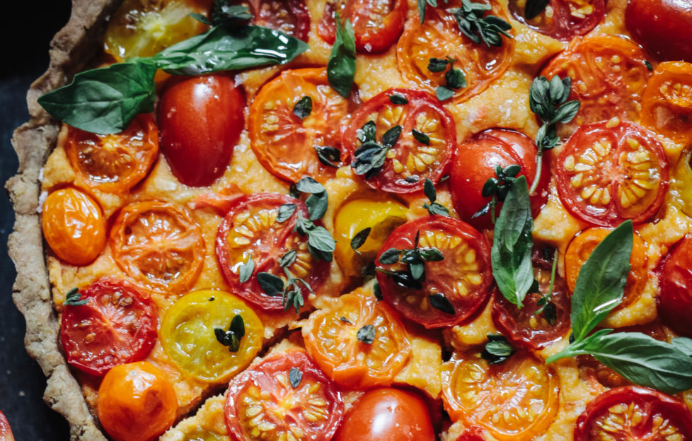 Heirloom tomato tart with a walnut base (vegan & gluten free) 1