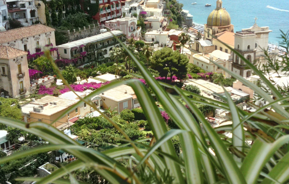 Looking down on Positano