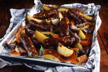 vegan sausage bake